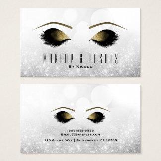 Cartes De Visite Spa argenté de beauté de cils de maquillage