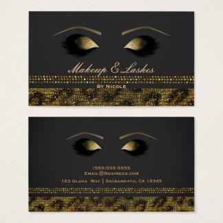 Cartes De Visite Spa de beauté de cils de maquillage de guépard de