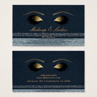Cartes De Visite Spa de beauté de cils de maquillage d'or de