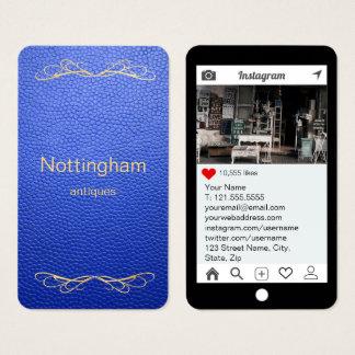 Cartes De Visite Style d'Instagram de cuir de moquerie de bleu