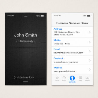 Cartes De Visite style d'IOS d'iPhone - noir et blanc générique