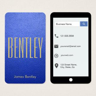 Cartes De Visite Style d'iPhone de cuir de moquerie de bleu royal