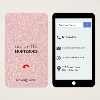 Cartes De Visite Style d'iPhone de cuir de moquerie de rose de