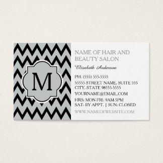 Cartes De Visite Styliste en coiffure noir à la mode de monogramme