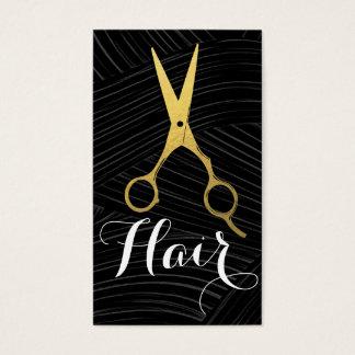 Cartes De Visite Styliste en coiffure noir de ciseaux d'or de motif