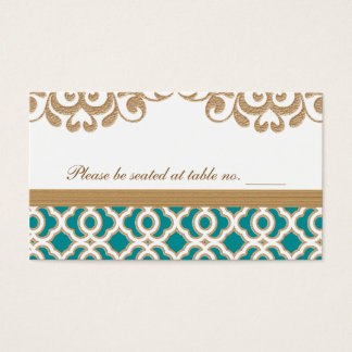 Cartes De Visite Teal et endroit marocain de Tableau de mariage