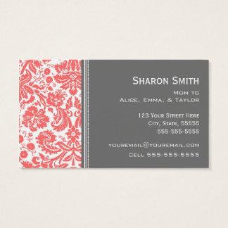 Cartes De Visite Télécartes grises de corail de maman de damassé