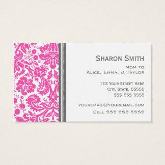 Cartes De Visite Télécartes grises roses de maman de damassé