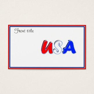 Cartes De Visite Texte blanc et bleu rouge des Etats-Unis
