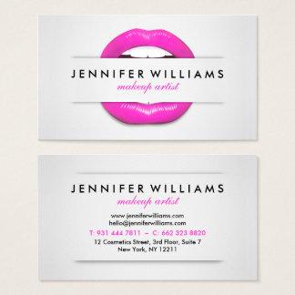 Cartes De Visite Texture grise de lèvres roses fraîches de