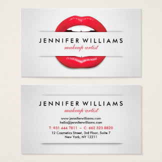 Cartes De Visite Texture grise de lèvres rouges fraîches de