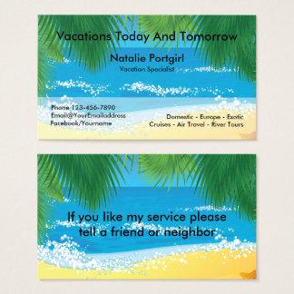 Cartes De Visite Thème tropical de spécialiste en agent de voyage