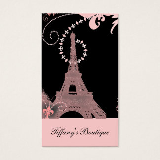Cartes De Visite Tour Eiffel noir et rose chic girly de Paris
