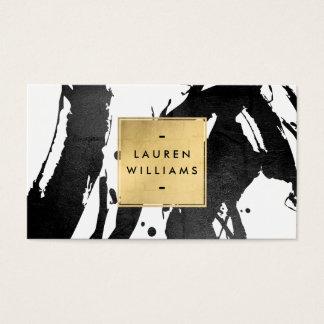 Cartes De Visite Traçages noirs abstraits avec la feuille d'or de