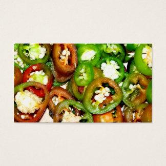 Cartes De Visite Tranches colorées de poivre de Jalapeno