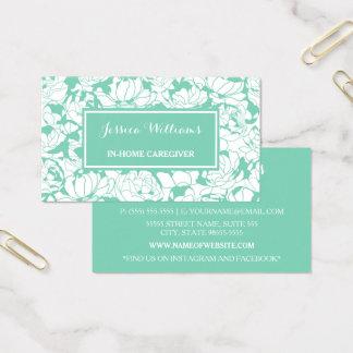 Cartes De Visite Travailleur social Girly floral vert en bon état