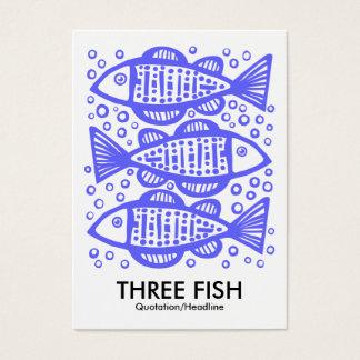 Cartes De Visite Trois poissons - bleu électrique