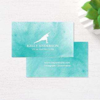 Cartes De Visite Turquoise d'aquarelle d'instructeur de yoga