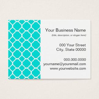 Cartes De Visite Turquoise lumineuse et motif blanc de Quatrefoil