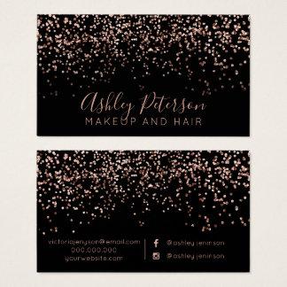 Cartes De Visite Typographie rose de cheveux de maquillage de