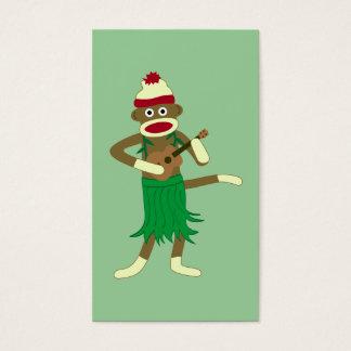 Cartes De Visite Ukulélé de singe de chaussette