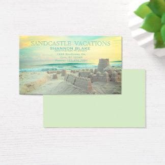 Cartes De Visite Vacances de paysage de plage de pâté de sable