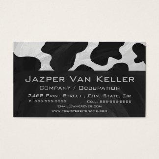 Cartes De Visite Vache à monogramme noire et blanche