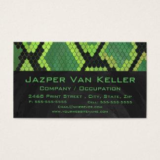 Cartes De Visite Vert et noir de serpent de monogramme