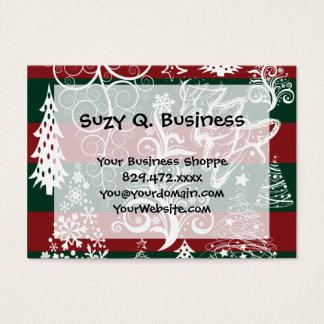 Cartes De Visite Vert rouge de fête d'arbre de Noël de vacances