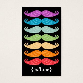 Cartes De Visite Verticale Bizcard de moustaches d'arc-en-ciel