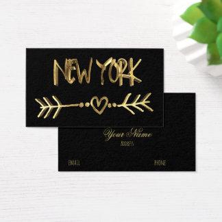 Cartes De Visite Ville des Etats-Unis de typographie de regard d'or