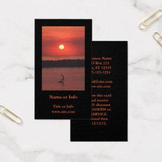 Cartes De Visite Voilier à la photo de coucher du soleil