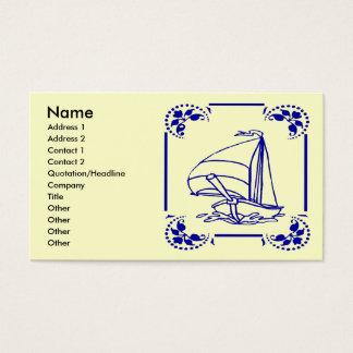 Cartes De Visite Voilier bleu néerlandais,