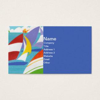 Cartes De Visite Voiliers colorés lumineux flottant dans l'eau