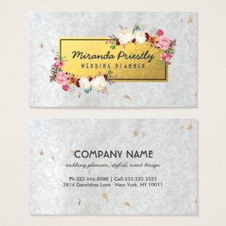 Cartes De Visite Wedding planner de papier fait main de damassé