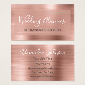 Cartes De Visite Wedding planner rose et rose de feuille d'or