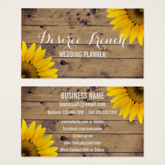 Cartes De Visite Wedding planner rustique social de tournesols des
