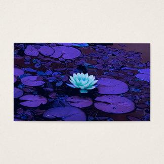 Cartes De Visite Zen floral d'étang de turquoise bleue pourpre de