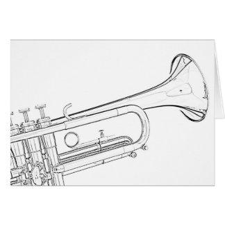 Cartes de voeux de dessin de trompette