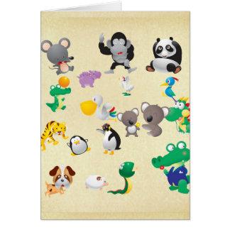 Cartes de voeux mignonnes d'animaux de zoo pour