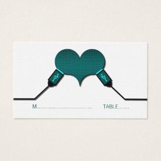 Cartes d'endroit d'USB de connexion d'amour, Teal