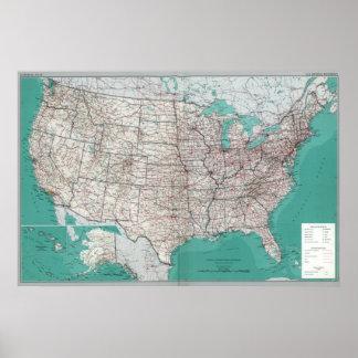 Cartes des Etats-Unis, affiche imprimée de carte d