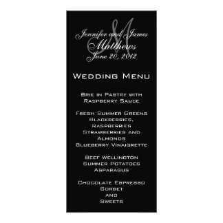 Cartes élégantes de menu de mariage de monogramme