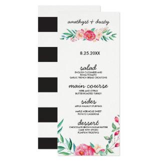 Cartes florales de menu de mariage d'aquarelle carton d'invitation  10,16 cm x 23,49 cm