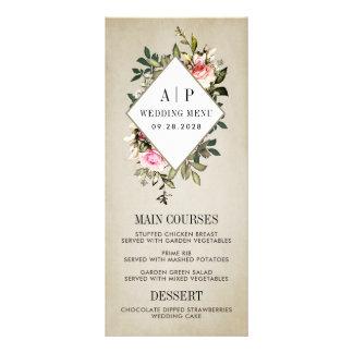 Cartes florales de menu de mariage de verdure de