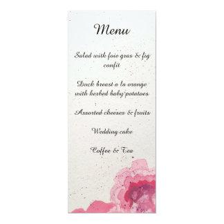 Cartes florales de menu de réception de mariage,