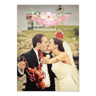 Cartes florales de Merci de photo de mariage Carton D'invitation 12,7 Cm X 17,78 Cm