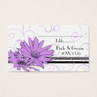 Cartes florales pourpres de couvert de mariage carte de visite standard