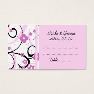 Cartes florales roses de couvert de mariage