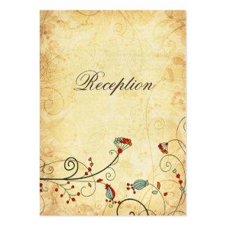 cartes florales rouges vintages rustiques de récep carte de visite
